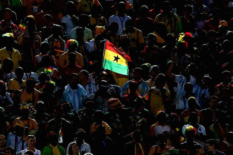 A Ghana flag is seen on the stands during the 2014 FIFA World Cup Brazil Group G match between Ghana and the United States at Estadio das Dunas on June 16, 2014 in Natal, Brazil.  (Photo by Kevin C. Cox/Getty Images)