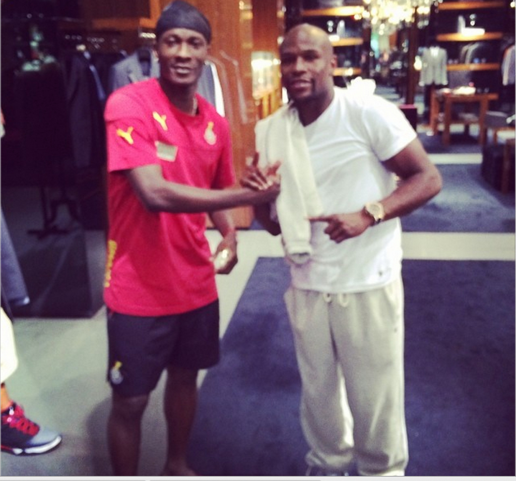 Asamoah Gyan and Floyd Mayweather Jnr in Miami.