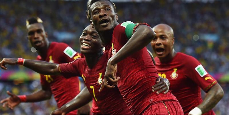 Asamoah Gyan celebrating the lead.