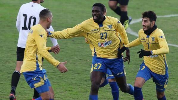Ibrahim Toure celebrating a goal in Lebanon.