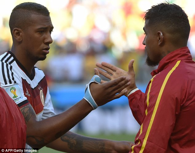 Shake on it: Jerome Boateng (left) and his brother Kevin-Prince Boateng before the match Read more: http://www.dailymail.co.uk/sport/worldcup2014/article-2664641/Its-sibling-rivalry-Germanys-Jerome-Boateng-marks-brother-Ghanas-Kevin-Prince-World-Cup-clash.