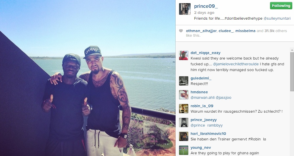 Kevin-Prince Boateng with friend Sulley Muntari