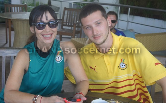 Mariana Kovacevic with her son and manager in Black Stars camp