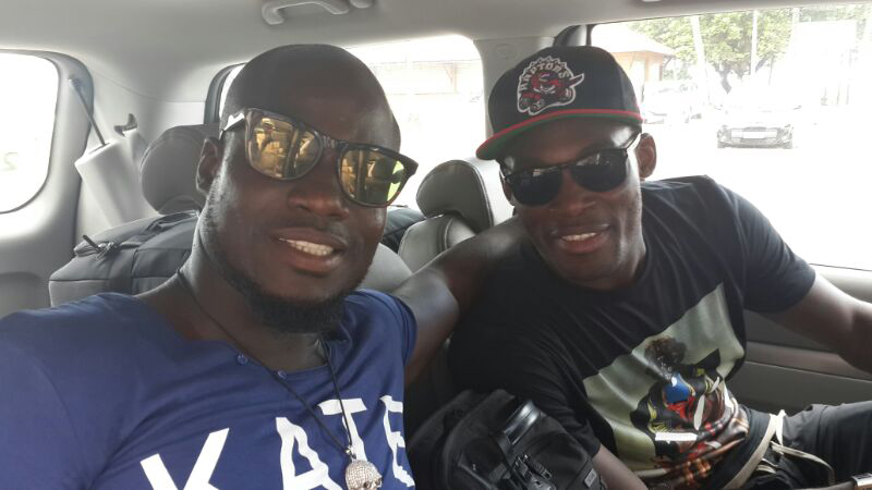 Michael Essien and Stephen Appiah on their way to the airport