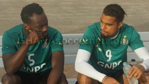 Michael Essien with Kevin-Prince Boateng