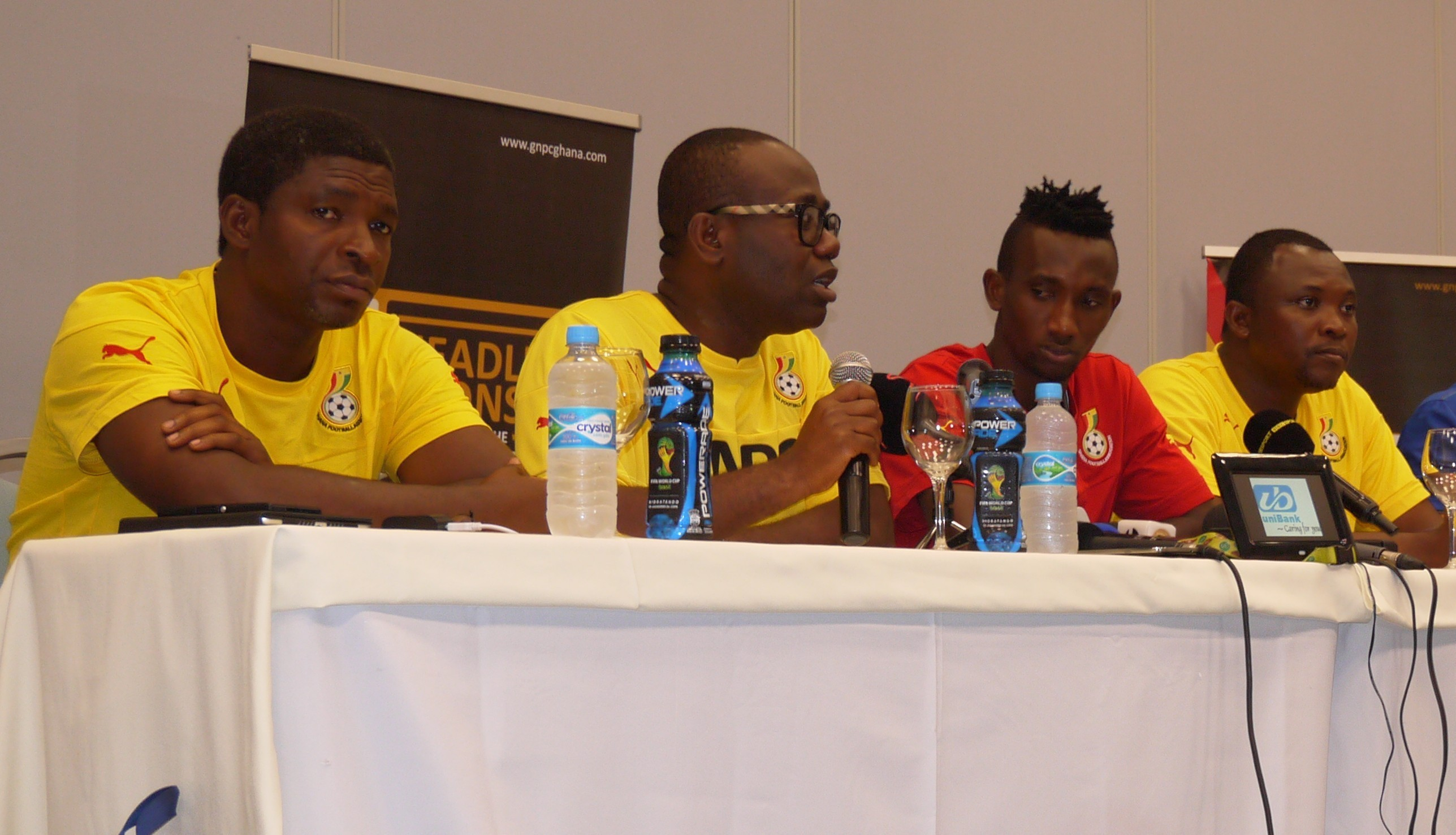 Ghana FA boss seated in the middle at the press conference
