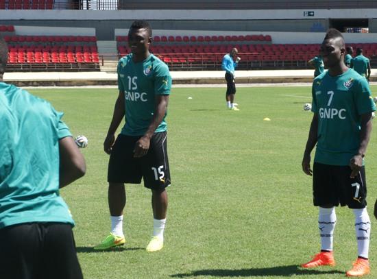 Rashid Sumaila (left) in training on Thursday.