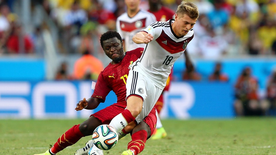 Sulley Muntari in action against Germany