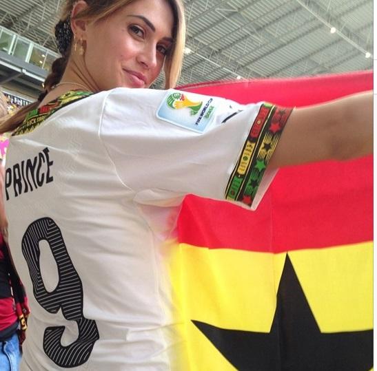 Samuel Inkoom's wife Omega inside the stadium.