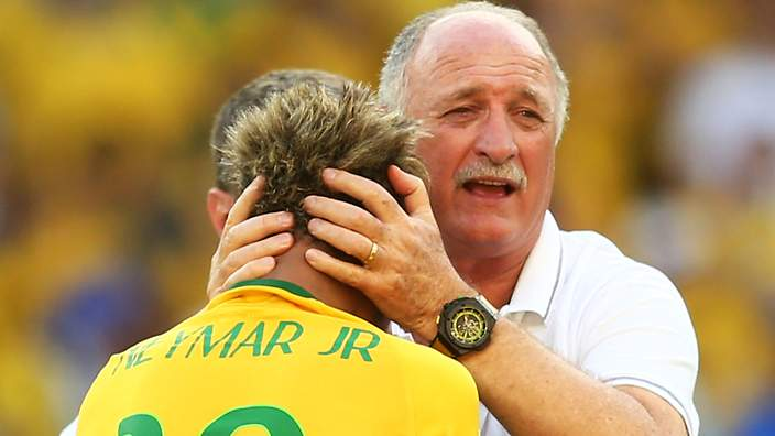BELO HORIZONTE, BRAZIL - JUNE 28:  Head coach Luiz Felipe Scolari of Brazil celebrates with Neymar after defeating Chile in a penalty shootout during the 2014 FIFA World Cup Brazil round of 16 match between Brazil and Chile at Estadio Mineirao on June 28, 2014 in Belo Horizonte, Brazil.  (Photo by Ronald Martinez/Getty Images)
