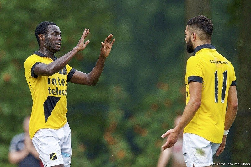 Boateng celebrating a strike for NAC Breda, scored his fourth goal of the pre-season