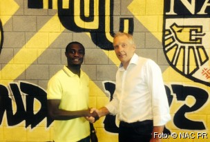 Kingsley Boateng and NAC Breda technical director Graeme Rutjes.