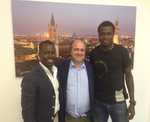 Agent Oliver Arthur, Ascoli sporting director Lovato Gianini and Bright Addae.