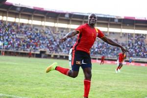 STITCH IN TIME: Geoffrey Massa celebrates after scoring Uganda's second goal against Mauritania