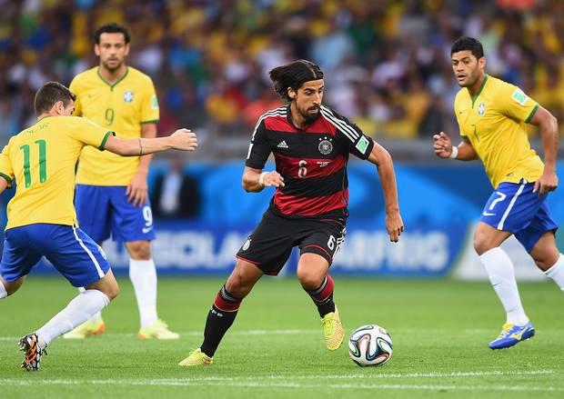Germany's Sami Khedira in action against Brazil.