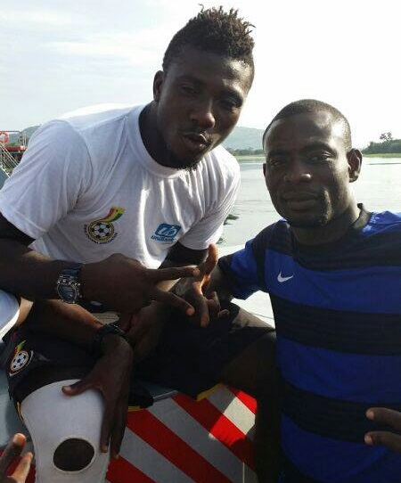 Herbert Addo is keen to bring Emmanuel Akuoku, right with Ghana keeper Adams, to Hearts