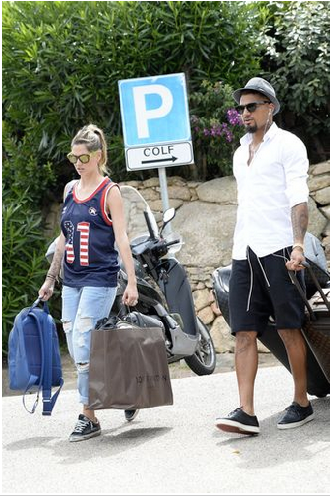 Kevin-Prince Boateng and Melissa Satta on holidays in Miami.