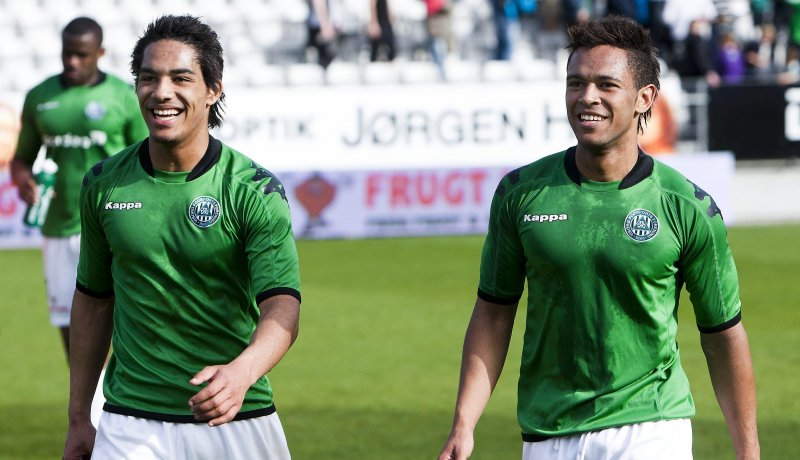Jeff Mensah, right, with his brother Kevin Mensah, scored first for Viborg