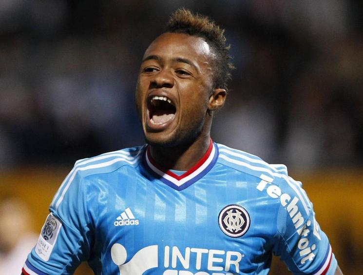 Olympique Marseille's Jordan Ayew celebrates his goal against AS Nancy during their French Ligue 1 soccer match at the Marcel Picot stadium in Nancy September 16, 2012.    REUTERS/Vincent Kessler (FRANCE - Tags: SPORT SOCCER)