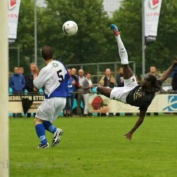 Kingsley Boateng with a spectacular bicycle kick.