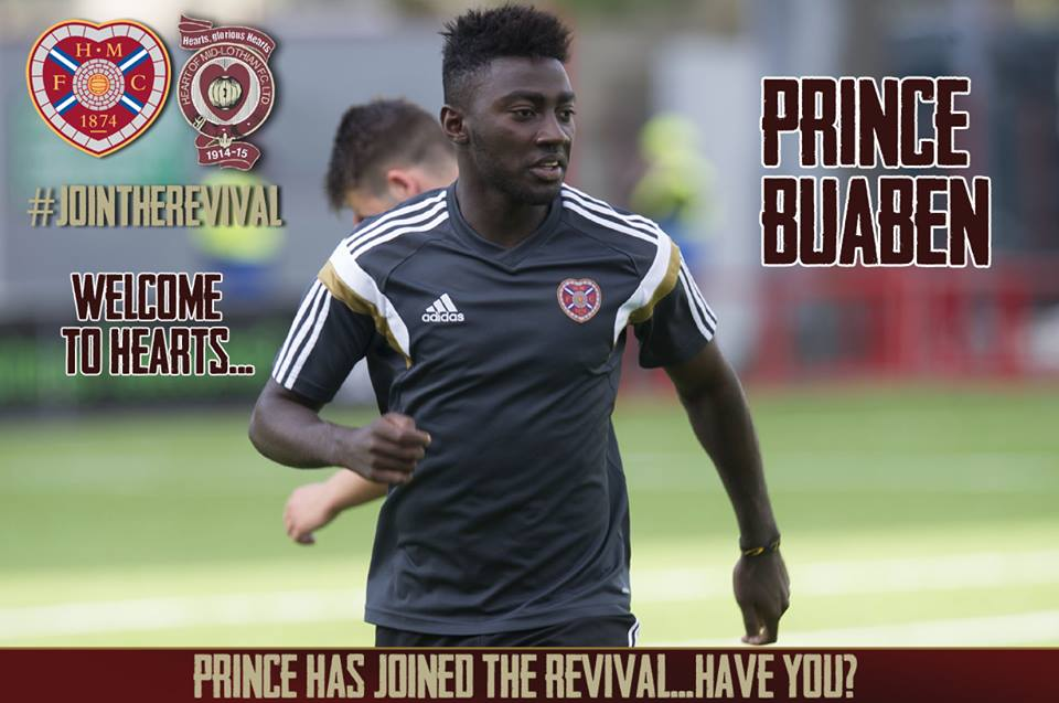Prince Buaben played for Hearts against Machester City