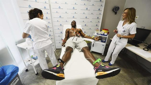 Razak Brimah undergoing his medical