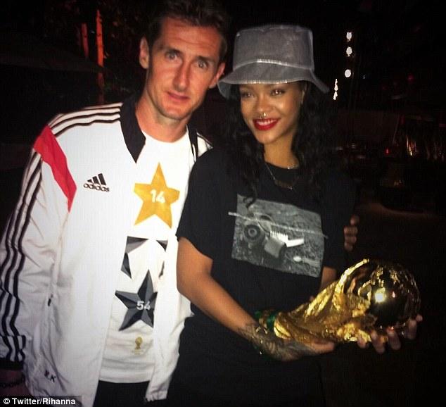 Rihanna with World Cup record scorer Miroslav Klose