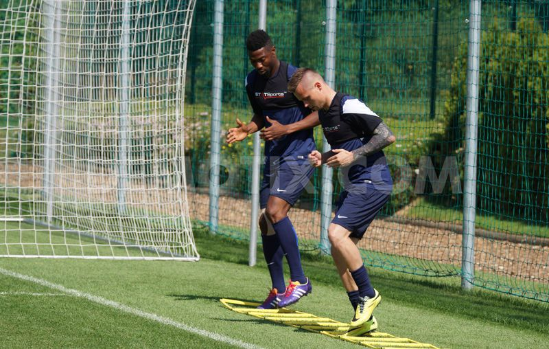 Isaac Vorsah works out at training