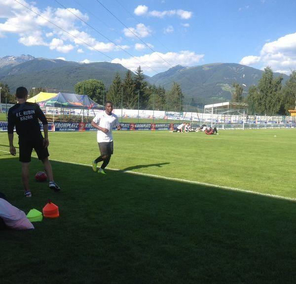 Mubarak Wakaso training with Rubin Kazan in Italy