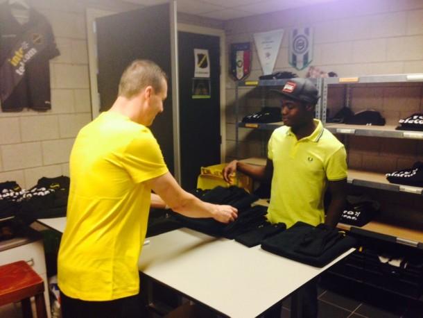 Kingsley Boateng in NAC Breda's store.