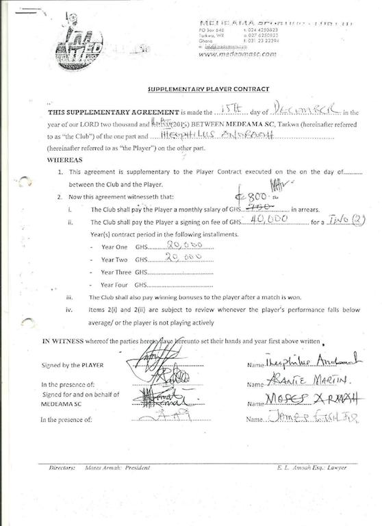 Theophilus Anoobah's contract with Medeama.