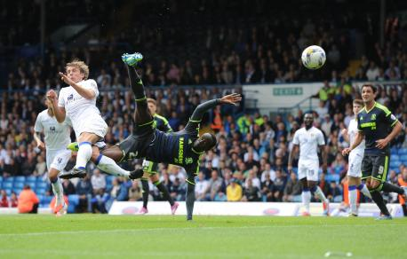 Albert Adomah see his acrobatic attempt ruled out during the Sky Bet Championship match at Elland Road, Leeds