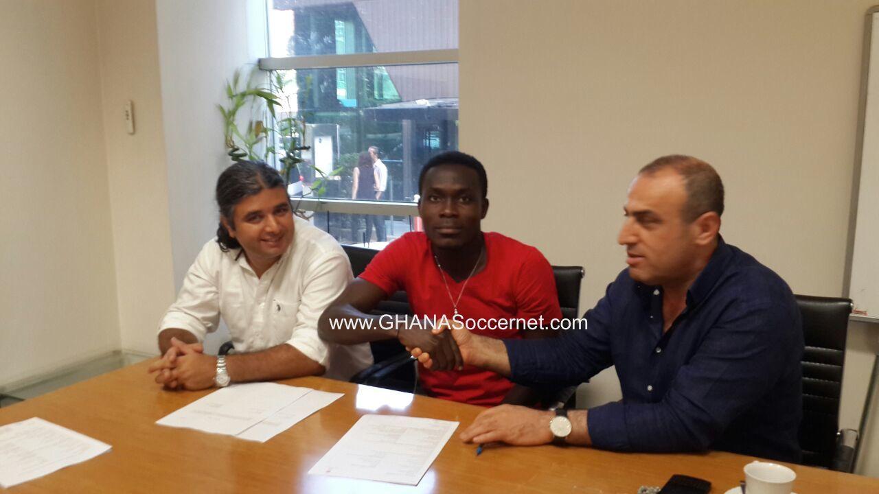 Joseph Attamah and officials of Adana Demirspor.