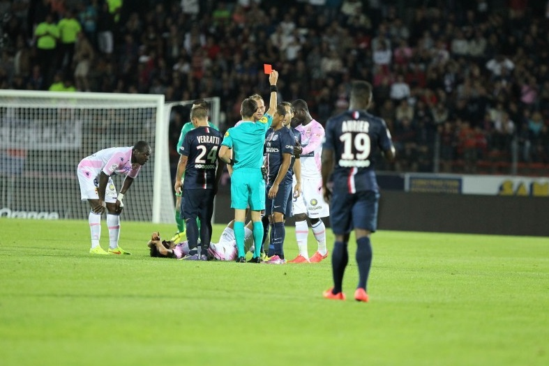 Defender Jonathan Mensah in the midst of action for Evian TG against PSG on Friday
