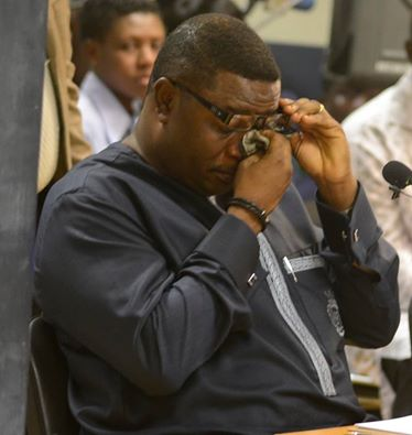 Ex Sports Minister Elvis Afriyie Ankrah shedding tears before the commission