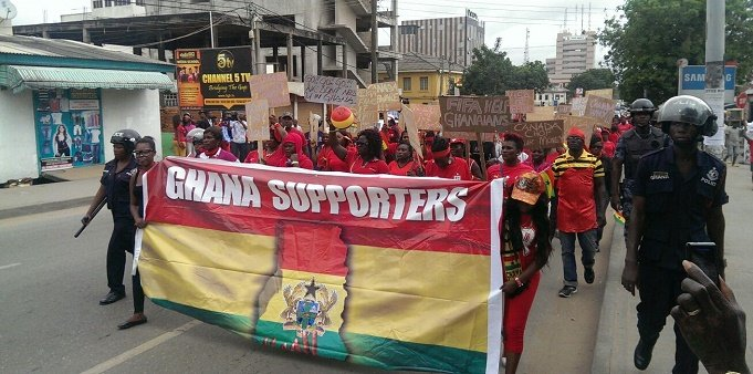 Ghanaian supporters hit the streets