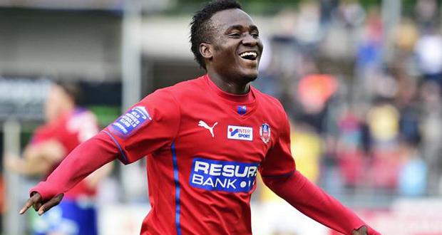 Ghana's David Accam scored a brace for Helsingborg IF