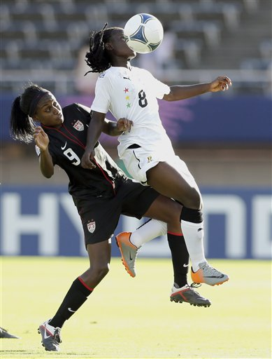 Ghana's Elizabeth Addo, in a tussle for the ball with an America opponent, was in action for Spartak Subotica in the Women's Uefa Champions League