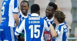 Gideon Baah celebrating his goal.