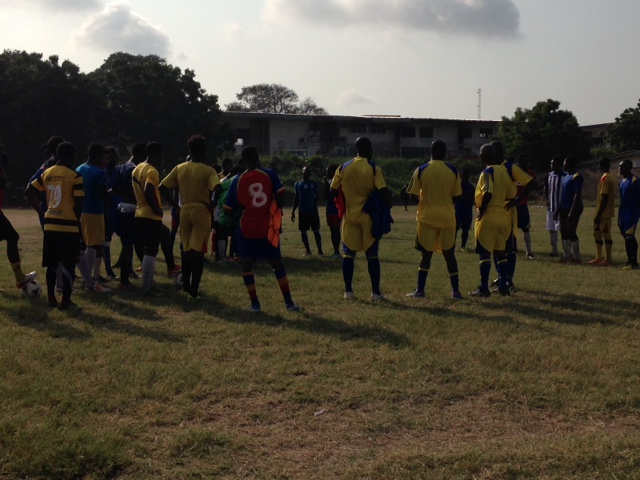 Herbert Addo with his players at Friday morning's training session