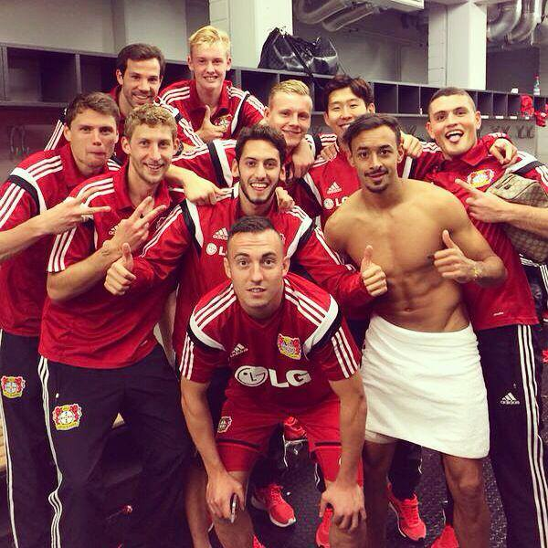 Karim Bellarabi celebrates with his team-mates after win