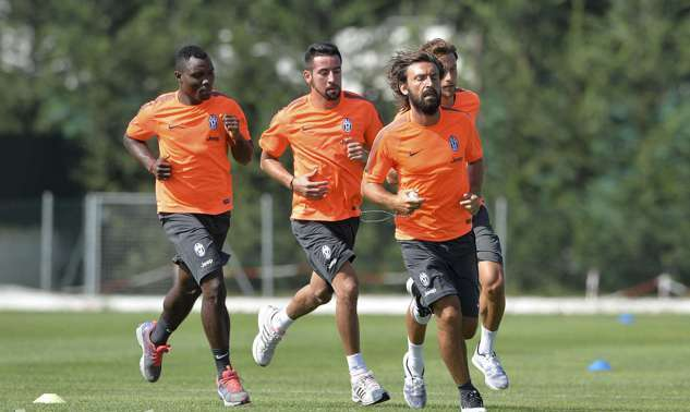 Kwadwo Asamoah training with his Juventus squad