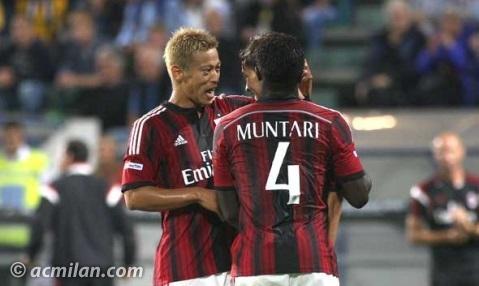 Muntari and Honda celebrate goal