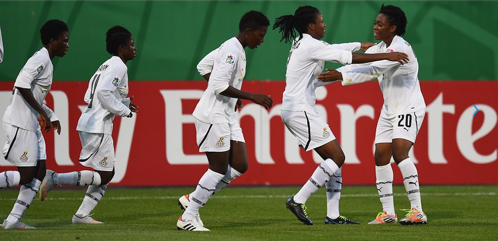 Sherifatu Sumaila (C) of Ghana celebrates her team's first goal with team mates.