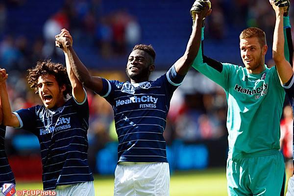 Rodney Antwi celebrates after scoring winner for FC Utrecht