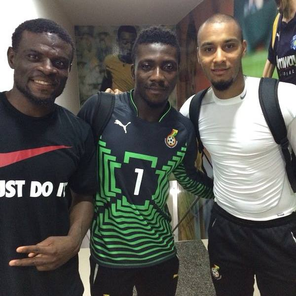 Stephen Adams, middle with Fatau Dauda and Adam Kwarasey, could join Hearts of Oak