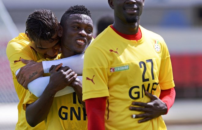 Striker Abdul Majeed Waris, grabbed by Kevin-Prince Boateng, is wanted by a number of clubs