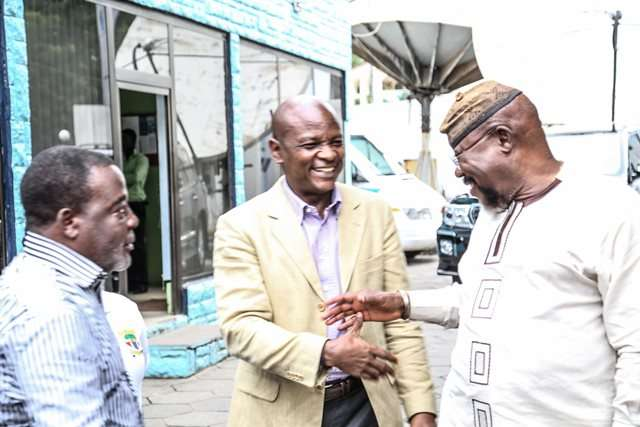 Togbe Afede XIV in a hearty chat with board members Nyaho Tamakloe and Commodore Mensah