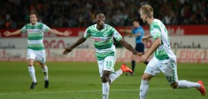 FUERTH, GERMANY - AUGUST 11: Abdul Rahman Baba (C) of Fuerth celebrates with team-mates after scoring his team's third goal during the Bundesliga match between Greuther Fuerth and 1. FC Nuernberg at Trolli-Arena on August 11, 2014 in Fuerth, Germany.  (Photo by Micha Will/Bongarts/Getty Images)
