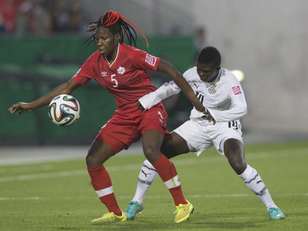 Canada's Kadeisha Buchanan (left) battles for the ball with Ghana's Priscilla Okyere during